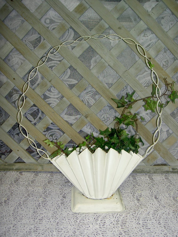 Antique Shabby Cottage Chic Planter on Wooden Clothespin Rocking Chair