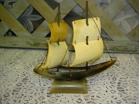 Vintage Cow Steer Horn Tall Ship