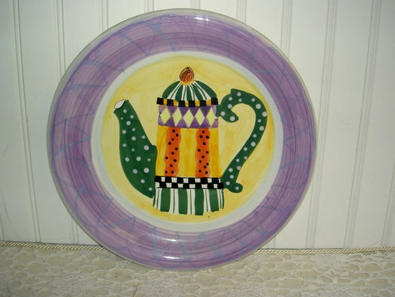 Coffee Pot Plate  Bright Colors 12""