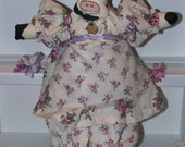 Adorable Handmade Purple Cow Cloth Doll     Lavender Rose