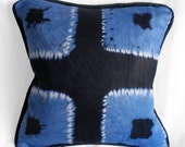 RESERVED for TAYLORKURTZ - Pair (2) of 12 x 12 in. pillows- West African resist dyed fabric - SQUARES pattern - light blue and black