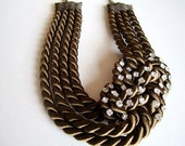 Brown sailor's knot necklace and rhinestones