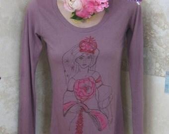 T-shirt Sale Venus Dreams in Bloom, Mauve 100 organic Tshirt