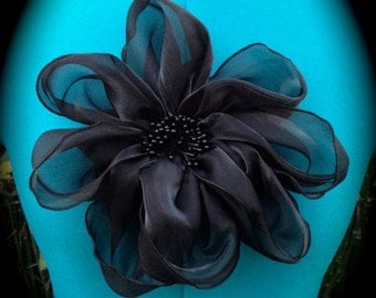Black Dahlia Large Fabric Flower Pin and Hairclip