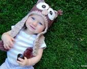 FREE SHIPPING-----Vintage Brown Owl 0-12 months -------Custom order------