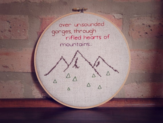 SALE mountain cross stitch hoop embroidered quote wall hanging art