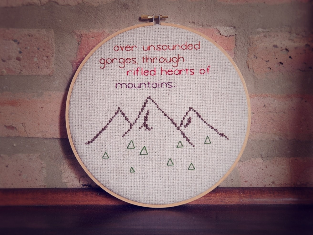 Sale Mountain Cross Stitch Hoop Embroidered Quote Wall Hanging