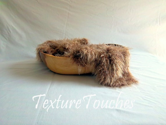 Brown Tan Feathery Faux Fur Baby Photo Prop in Baby Owlet colors