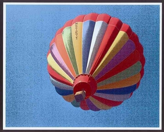 Special photo of the week:    Colorful striped Solo Hot Air BALLOON n blue sky abstract ish Art photograph