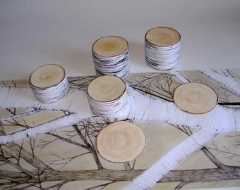 Birch table runner with 3D coaster