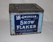 Antique 1920's Snow Flakes Biscuit Tin