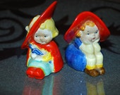 Antique Children with Red Floppy Hats - 1940's Salt and Pepper Shakers - Japan - Children Playing Dress Up - Victorian Children