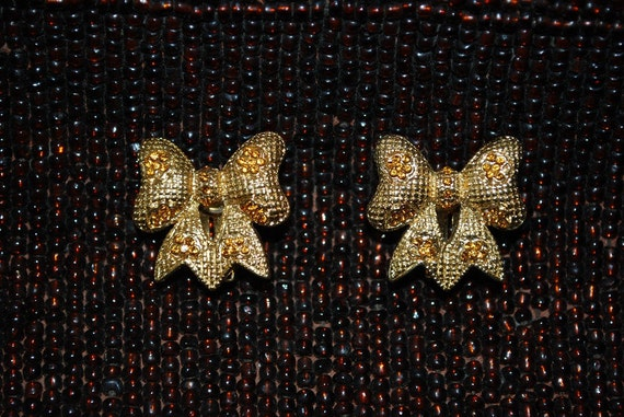 Vintage Gold Rhinestone Bow Clip Back Earrings