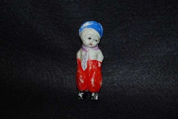 RESERVED FOR SAWAKO  Antique 1940's Miniature Bisque Dutch Boy Doll