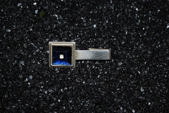 Antique 1940's Sapphire Blue Glass Rhinestone Tie Bar