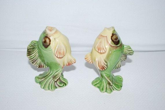 Vintage 1950's Ceramic Arts Studio Betty Harrington Fish Salt and Pepper Shakers