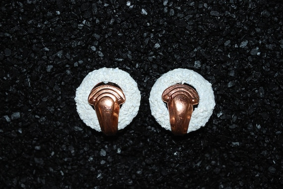 "Vintage Mid Century Matisse ""Glass Fluff"" Copper Earrings"