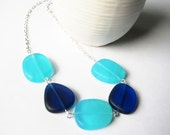 Blue Necklace - Silver, Chunky, Turquoise, Royal Blue, Recycled Glass, Jewelery, Jewellery