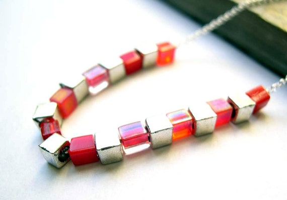 Red Necklace, Glass, Simple, Geometric, Sterling Silver, Tibetan Cubes, Modern, Minimailist Jewellery