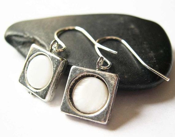 Mother of Pearl Earrings - Tibetan Silver, Cream, Ivory, Modern, Bridal, Wedding, Jewelry, Jewellery