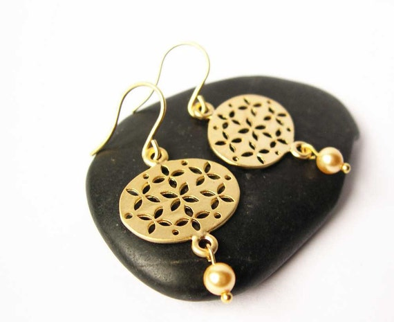 Gold Pearl Earrings - Modern Bridal Jewelry, Matte, Contemporary Wedding Jewellery