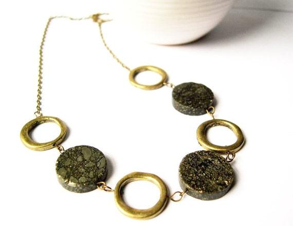 Stone Necklace - Stone Jewelry, Pyrite, Fool's Gold, Anitqued Brass, Mod, Modern Jewellery