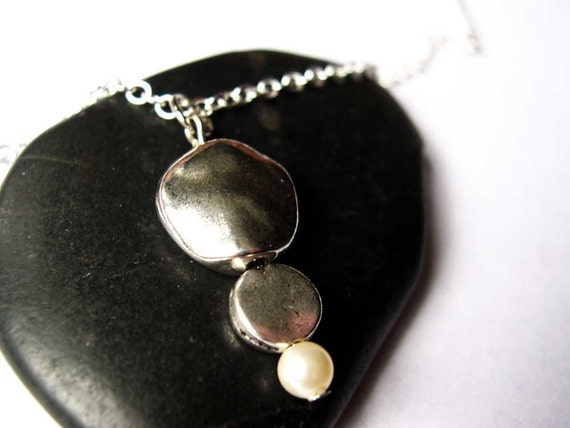 Metal Necklace - Pearl Jewelry, Pendant, Silver, Modern Jewellery, Contemporary, Simple