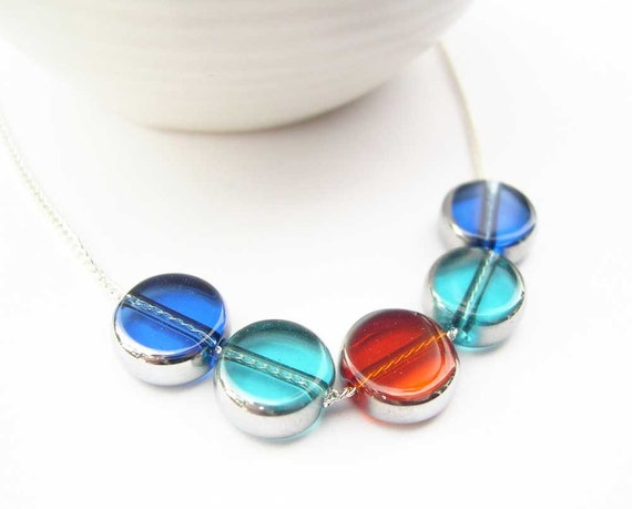 Blue Jewelry - Glass Necklace, Turquoise, Cobalt, Orange, Simple Jewellery,  Silver, Aqua, Colorful, Contemporary, Geometric