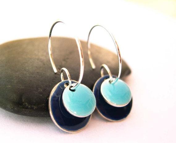 Enamel Earrings - Navy Blue, Light Blue, Nautical Jewelry, Simple Jewellery, Geometric, Silver Hoops