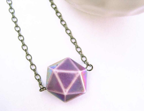 Geometric Jewelry - Purple Necklace, Triangles, Simple Jewellery, Vintage Bead, Oxidized Look, Gray Chain, Artsy