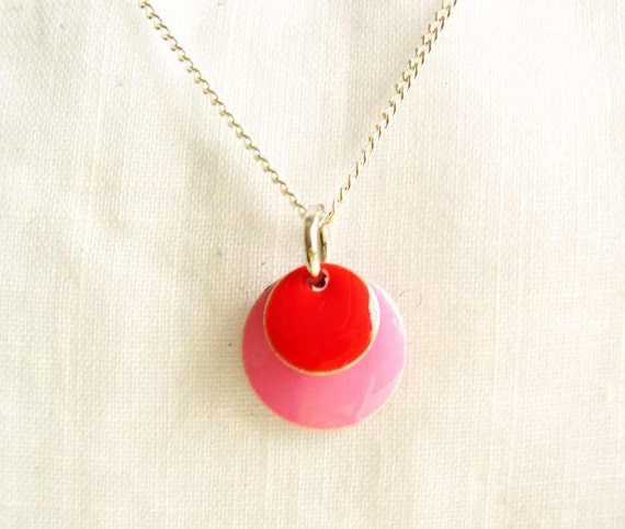 Enamel Necklace - Pink and Red Jewelry, Pendant, Petite, Dainty Jewellery, Silver, Geometric, Charm, Modern