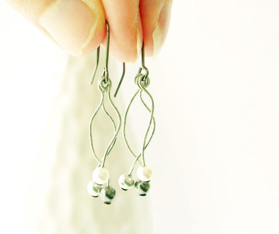 Pearl Earrings - Bridal Jewelry, Wedding Jewellery, Long, White, Gray, Grey, Matte Silver, Modern, Contemporary
