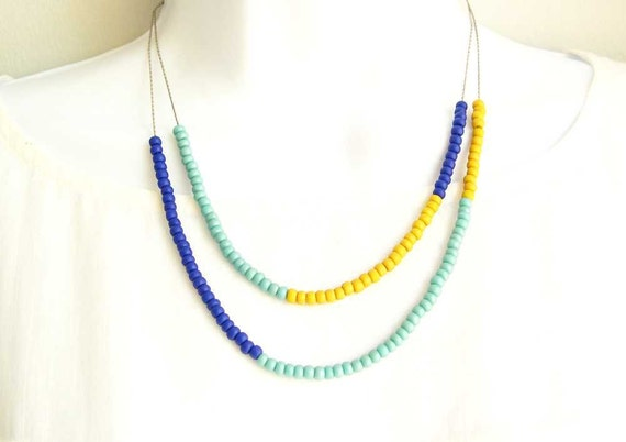 Reserved for Kerry - Color Block Necklace - Seed Beads, Czech Glass, Turquoise, Cobalt Blue, Yellow, Modern Jewelry, Multi Strand