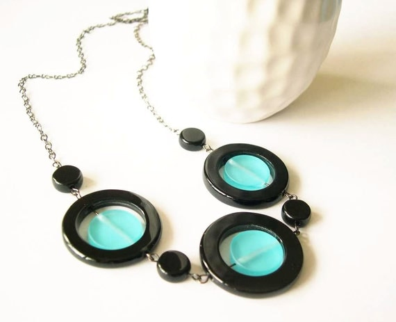Resin Jewelry - Black Onyx Necklace, Geometric, Semi Precious Stone Jewellery, Chunky, Blue Necklace