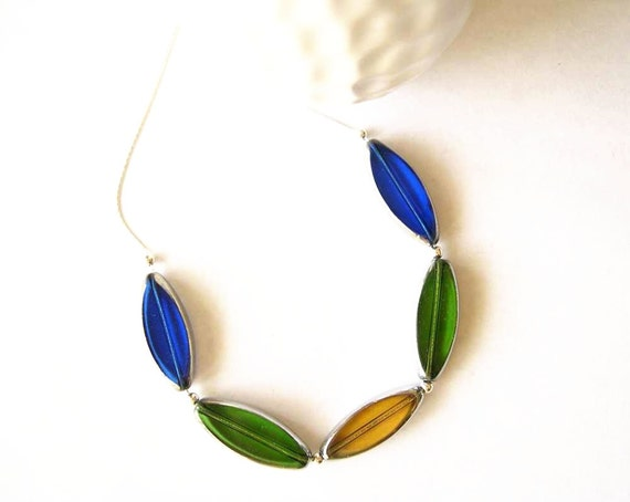 Contemporary Jewelry - Czech Glass Necklace, Sterling Silver, Royal Blue, Green, Amber Yellow, Modern Jewelry