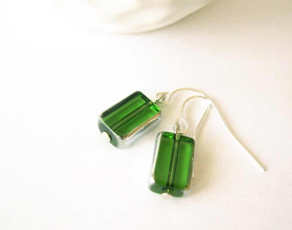 Simple Drop Earrings - Green Jewelry, Dangle, Silver, Nickel Free Earwires, Modern, Czech Glass