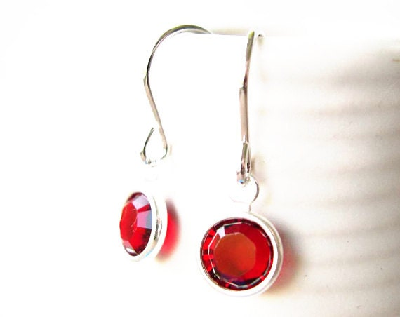 Custom Listing for Pyrexblue - Red Earrings, Simple, Crystal, Glass, Drop, Dangle, Modern Jewellery, Small Silver Jewelry