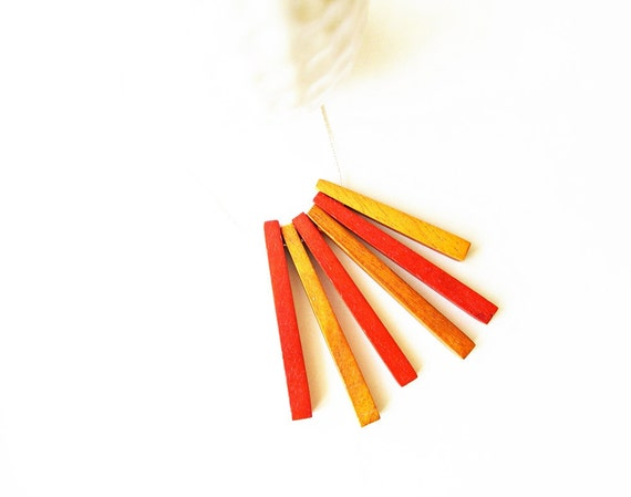 Fringe Necklace - Wood Jewelry, Funky, Red, Orange, Artsy, Modern, Tribal Inspired, Contemporary, Silver, 5th Wedding Anniversary Gift