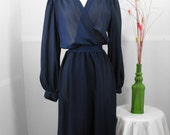 Sheer Navy Blue Draped and Lacey Vintage Dress