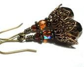 Topaz Amber Crystal Earrings Bronze Jewelry Golden Czech Crystal Amber Dangle Earrings Victorian Jewelry Wiccan Jewelry Topaz Earrings