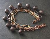 Rustic Antique Copper Multistrand Bracelet with Filigree Dangles