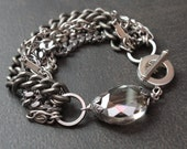 Antique Silver Multistrand Chain Bracelet with Crystal Luster Oval