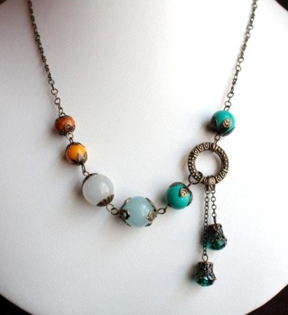 Teal and Saffron Asymmetric Antique Brass Necklace