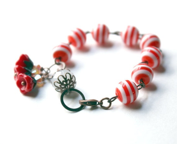 Childrens Red and White Striped Lucite Bracelet with Red Flower Charms and Antique Copper Details