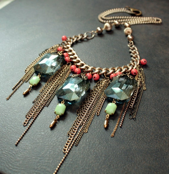 Antique Gold Necklace with Huge Moss Green Crystal Pillows and Slinky  Chain Dangles