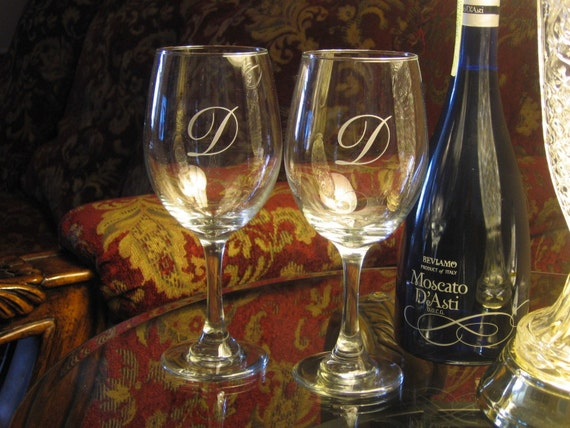 Monogrammed Wine Glass Set Personalized Wine Glasses