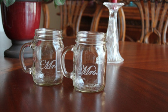 Personalized Engraved Mason Jar Mug Set, Weddings, Shower, Couple, Engagement Gifts, Toasting glasses, Mr Mrs, Monogram Mugs