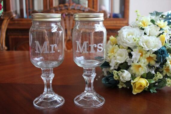 2 Redneck Wine Glass Set,  Wedding party, mason jars, 2 mason jars