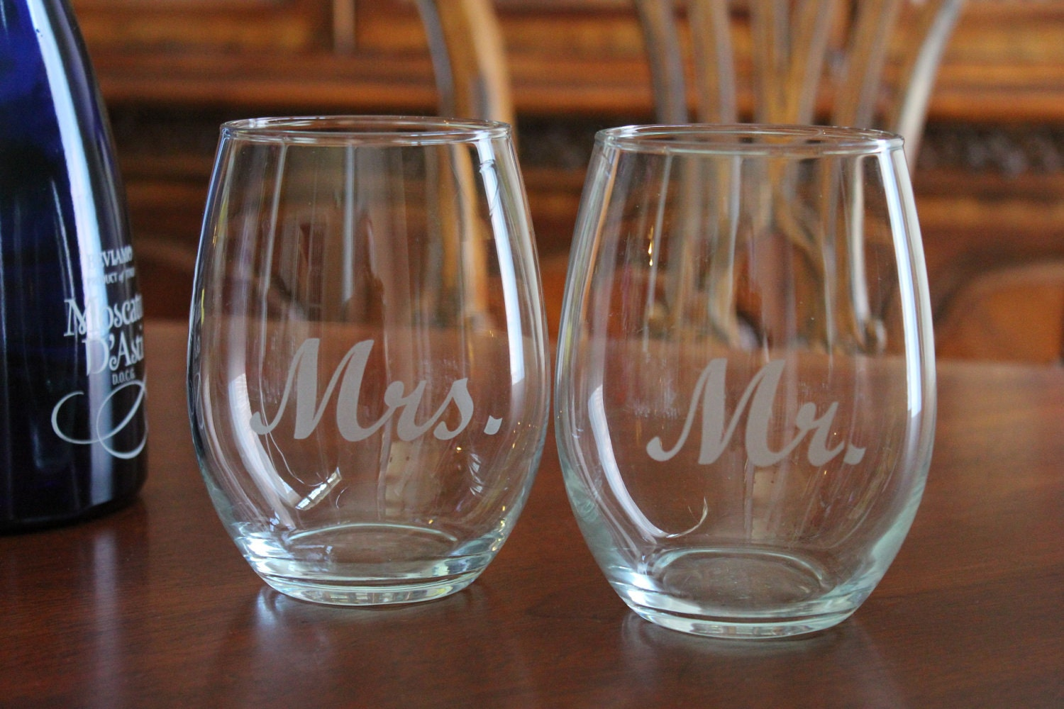 Stemless Mr And Mrs Wine Glass Set Personalized Wine