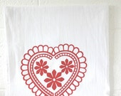 Kitchen Flour sack Towel Doily Heart Design Red